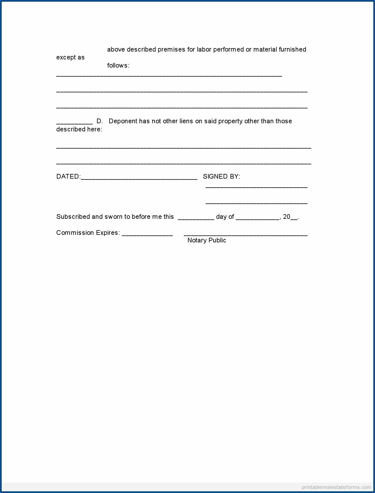 Free Printable Affidavit Statement Form