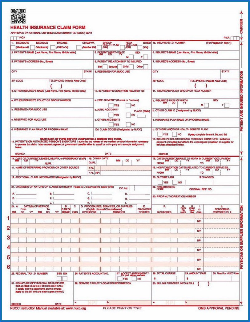 Free Printable Cms 1500 Form Download