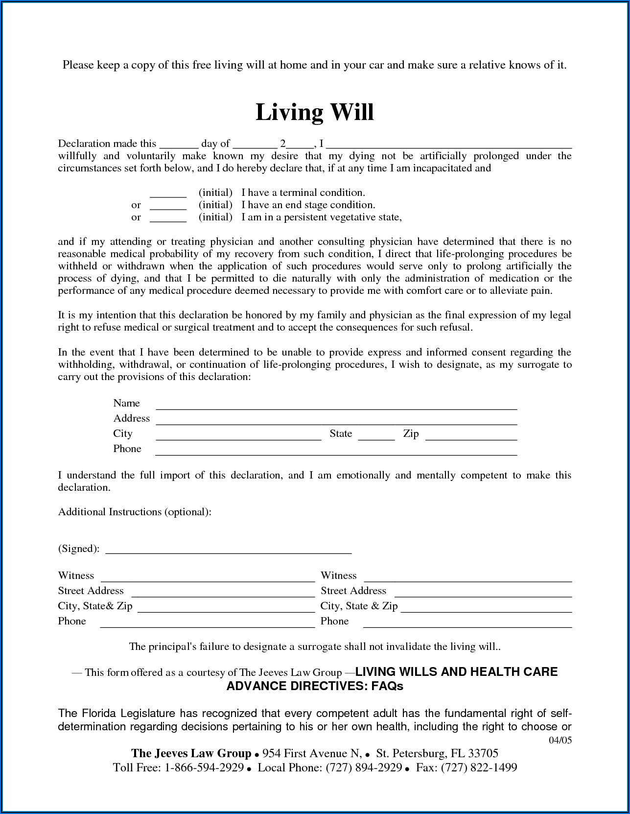 Free Printable Living Will Form Tennessee