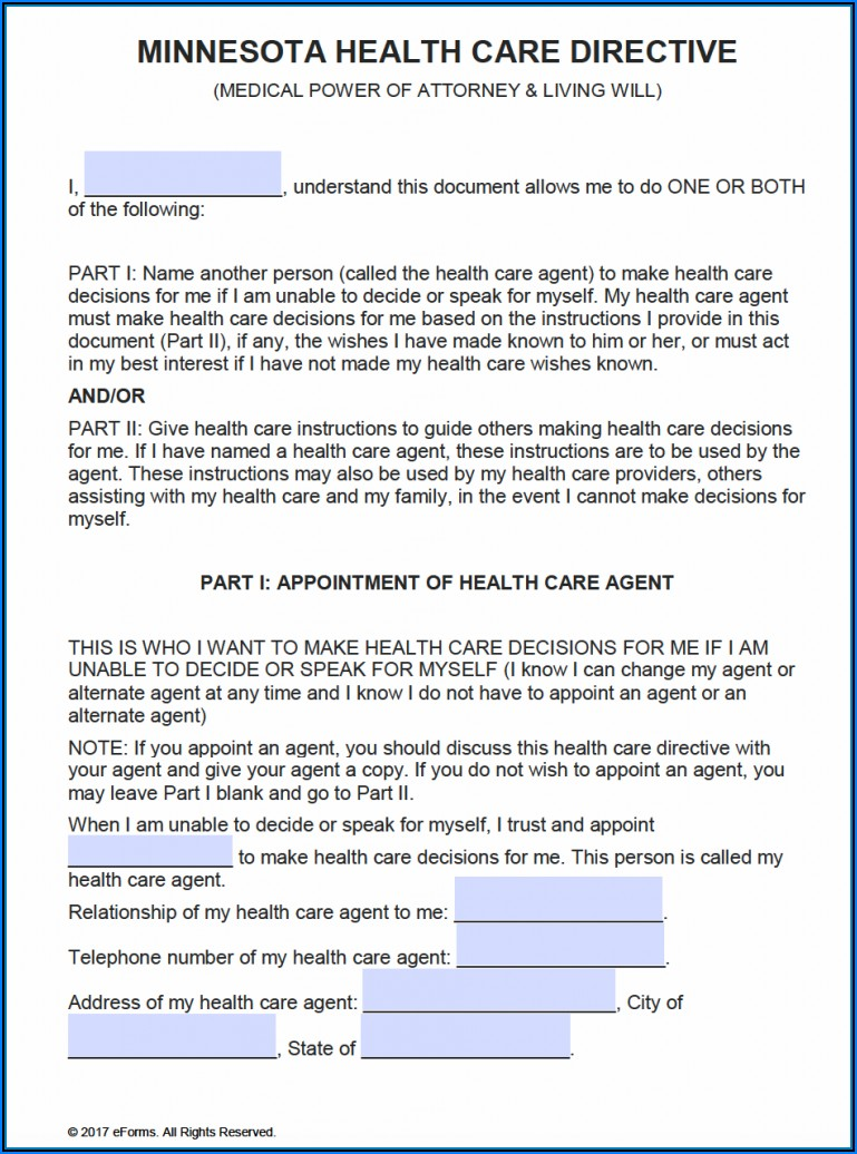Free Printable Power Of Attorney Form Mn