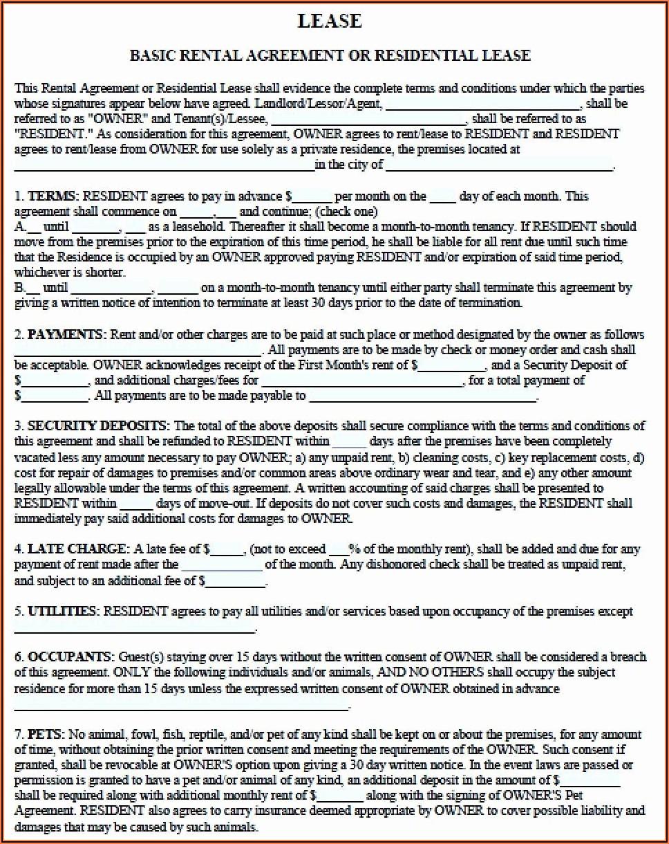 Free Printable Rental Lease Agreements