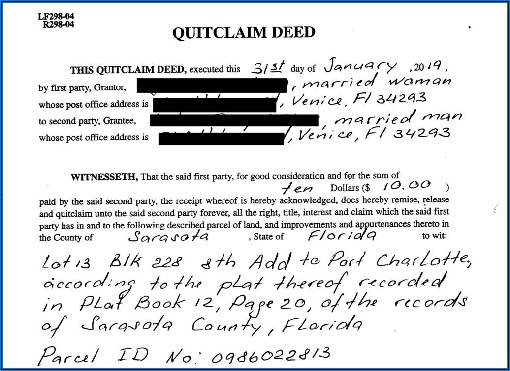 Free Quit Claim Deed Form Polk County Florida
