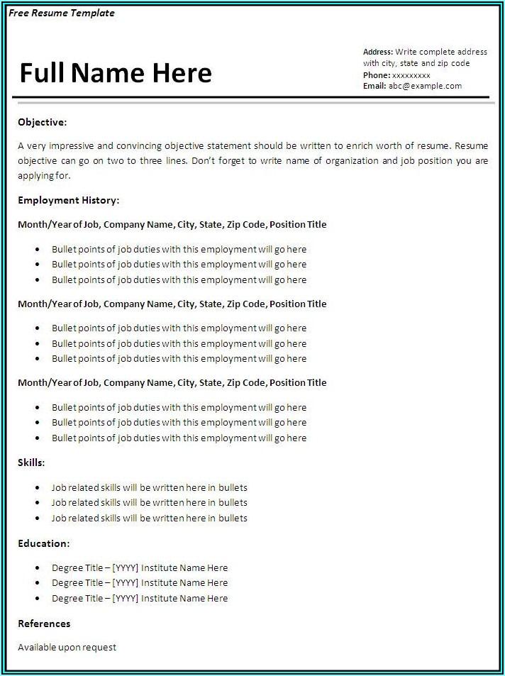 Free Resume Sample Templates