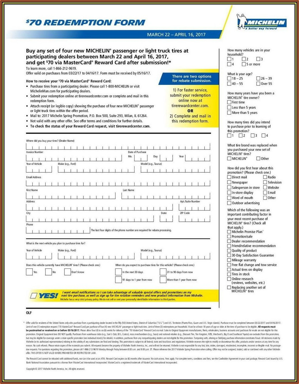 Hankook Tire Mail In Rebate Form
