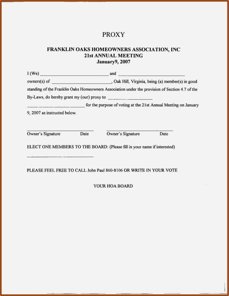 Homeowners Association Proxy Vote Form