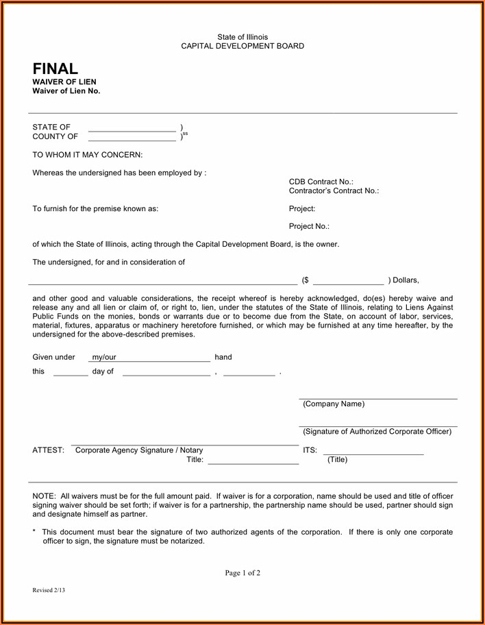 Illinois Construction Lien Waiver Form