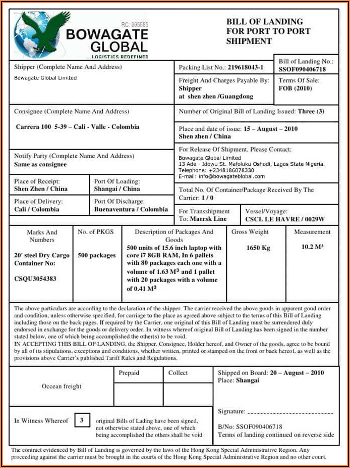 Inland Bill Of Lading Template