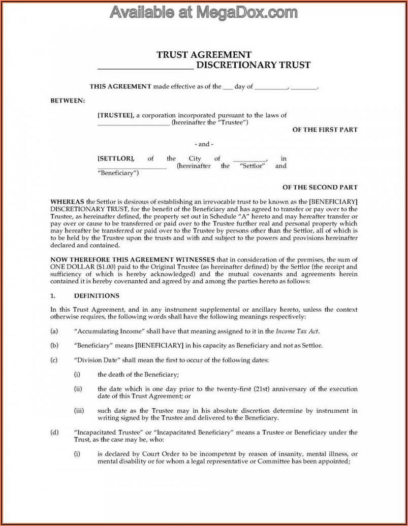Irrevocable Trust Forms Florida