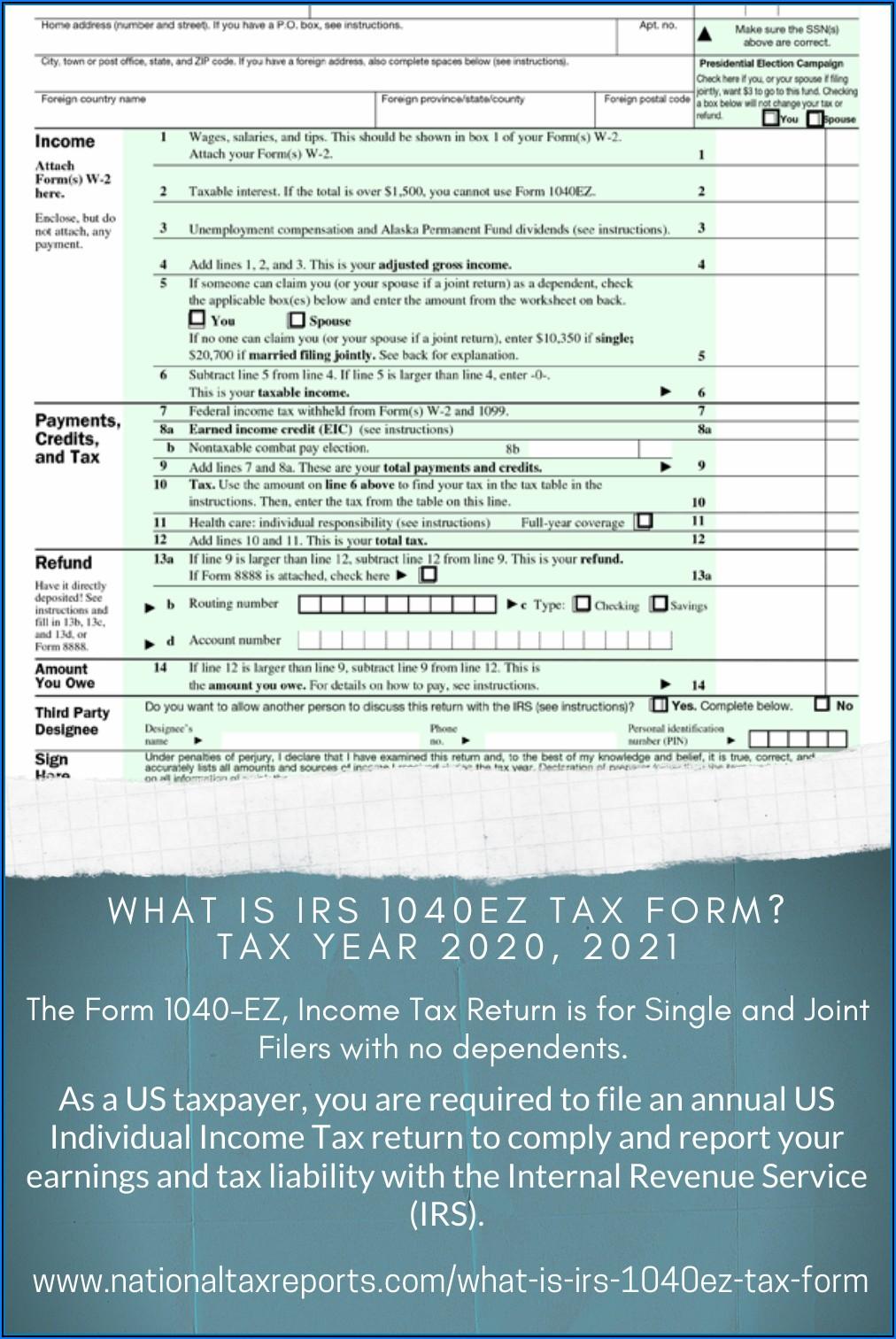 Irs 1040ez 2020 Tax Form