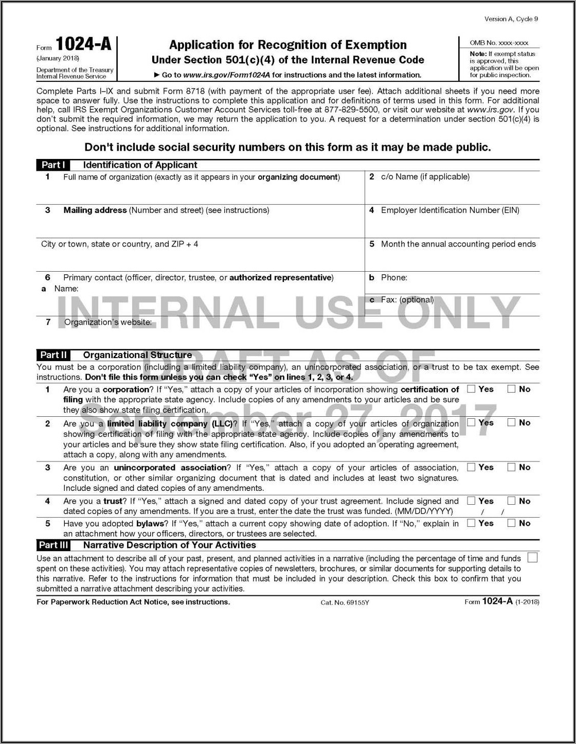Irs 501 C 7 Application Form