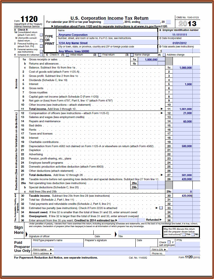 Irs Form 1120 S 2014