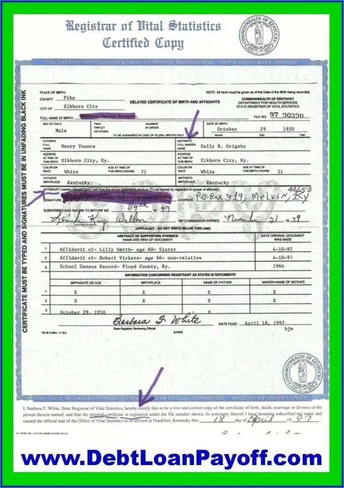 Kentucky Birth Certificate Application Form