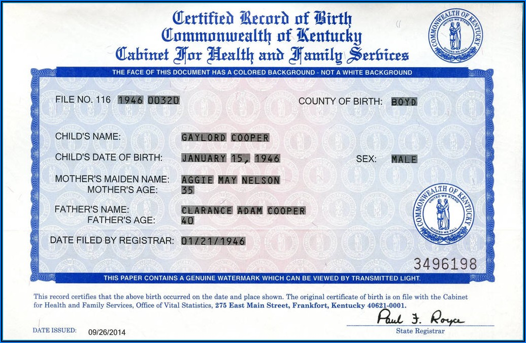 Ky Birth Certificate Application Form