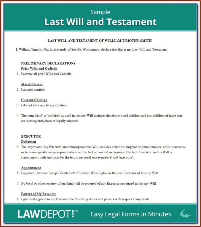 Last Will And Testament Forms Alberta