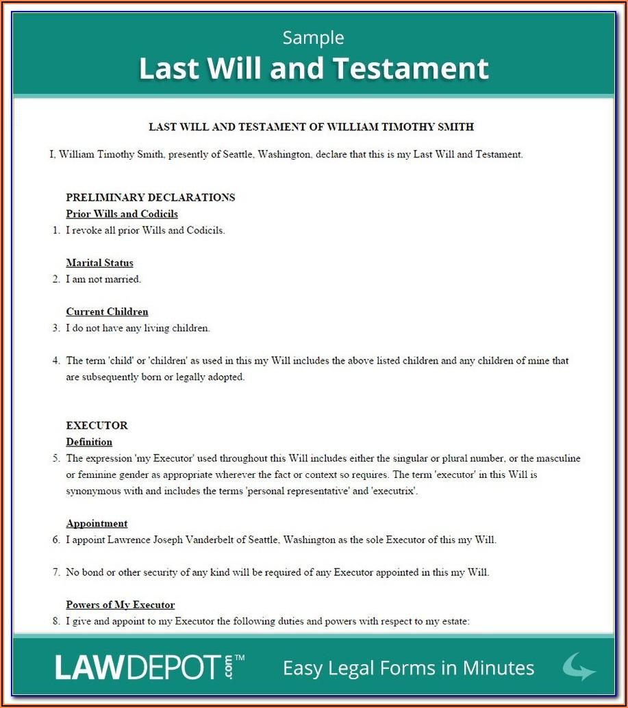 Last Will And Testament Forms Alberta