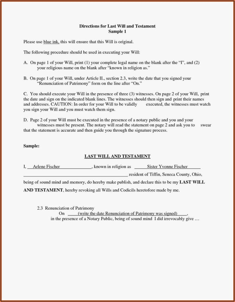 Last Will And Testament Ohio Free Forms