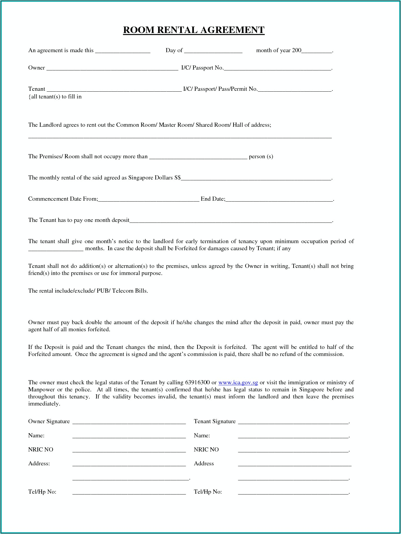 Leasing Agreement Template For Rental