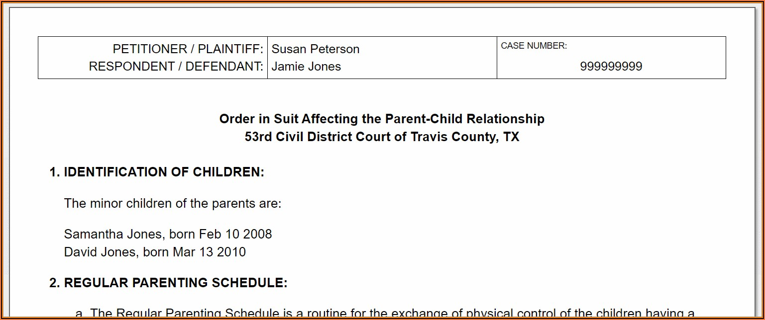 Legal Custody Forms For Texas