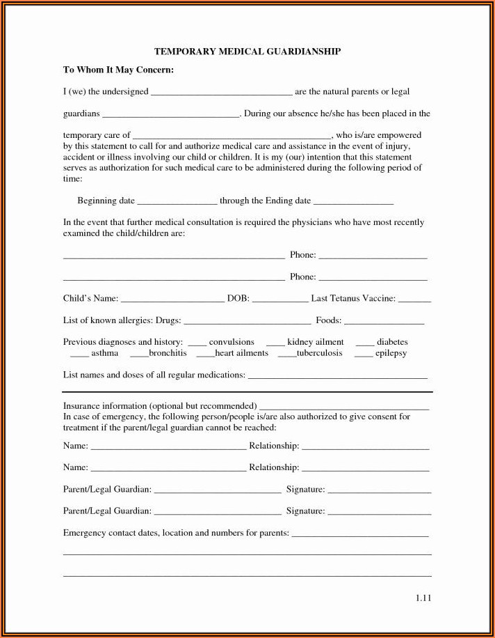 Legal Guardianship For A Child Forms