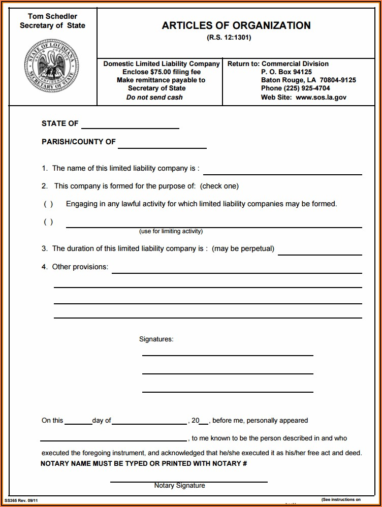 Limited Liability Forms Free