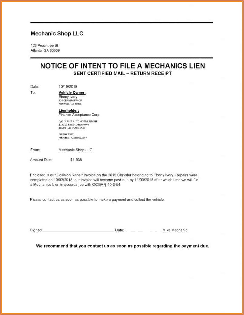 Mechanic Lien Form Georgia
