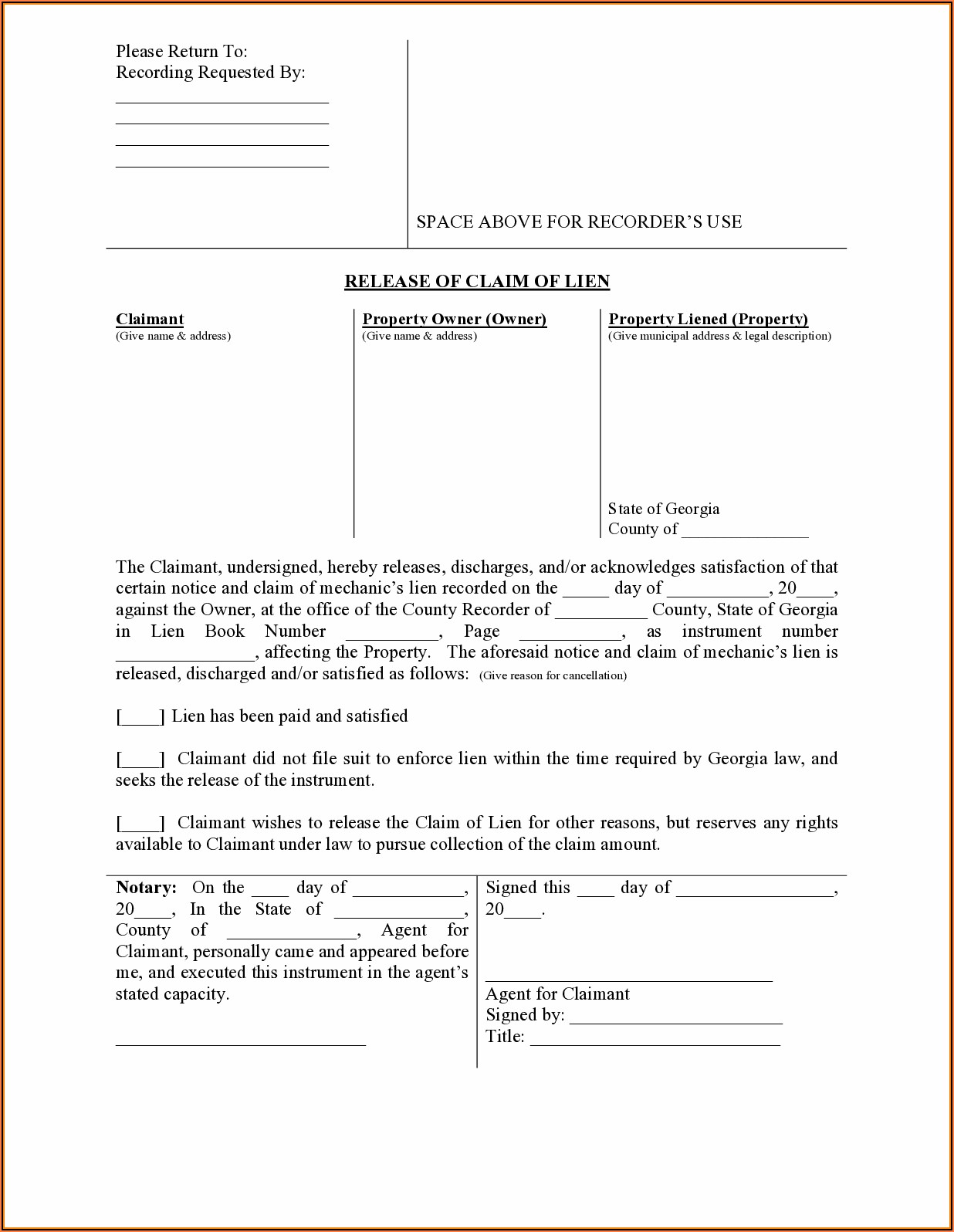Mechanics Lien Form Hamilton County Indiana