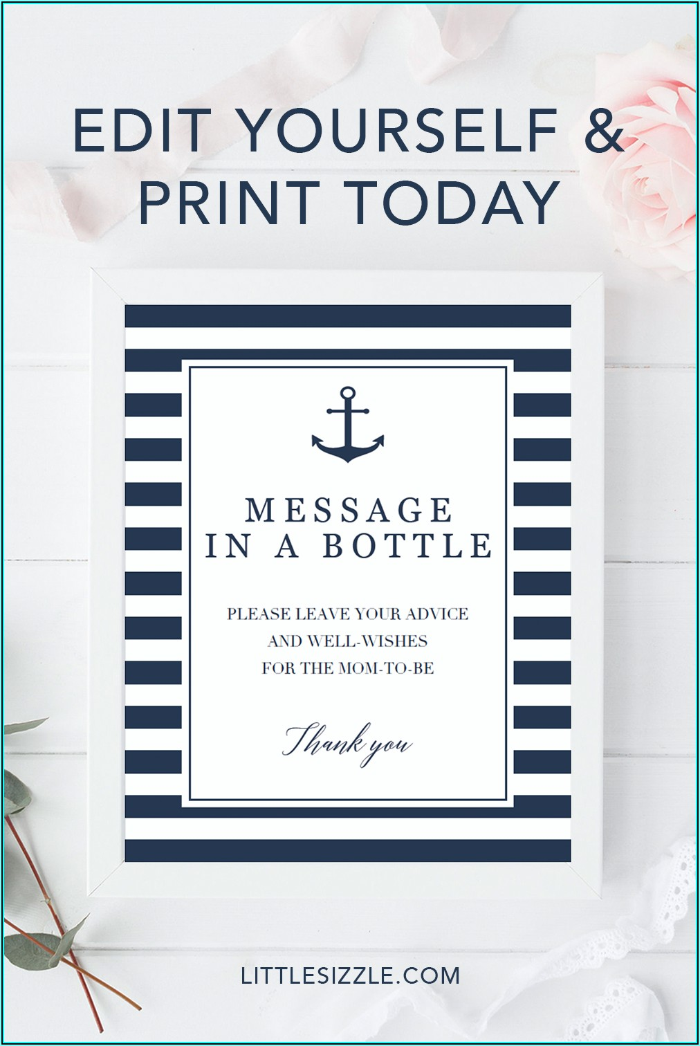 Message In A Bottle Baby Shower Template