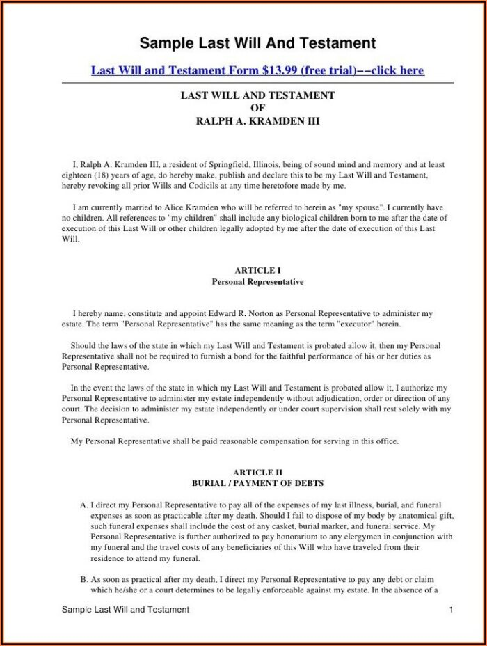 Mississippi Last Will And Testament Form