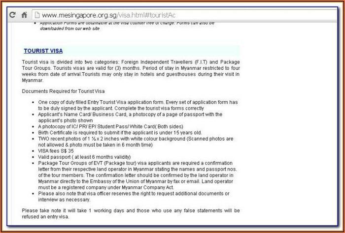 Myanmar Embassy Bangkok Visa Application Form