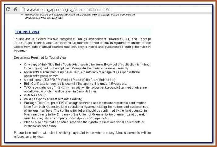 Myanmar Embassy Visa Application Form