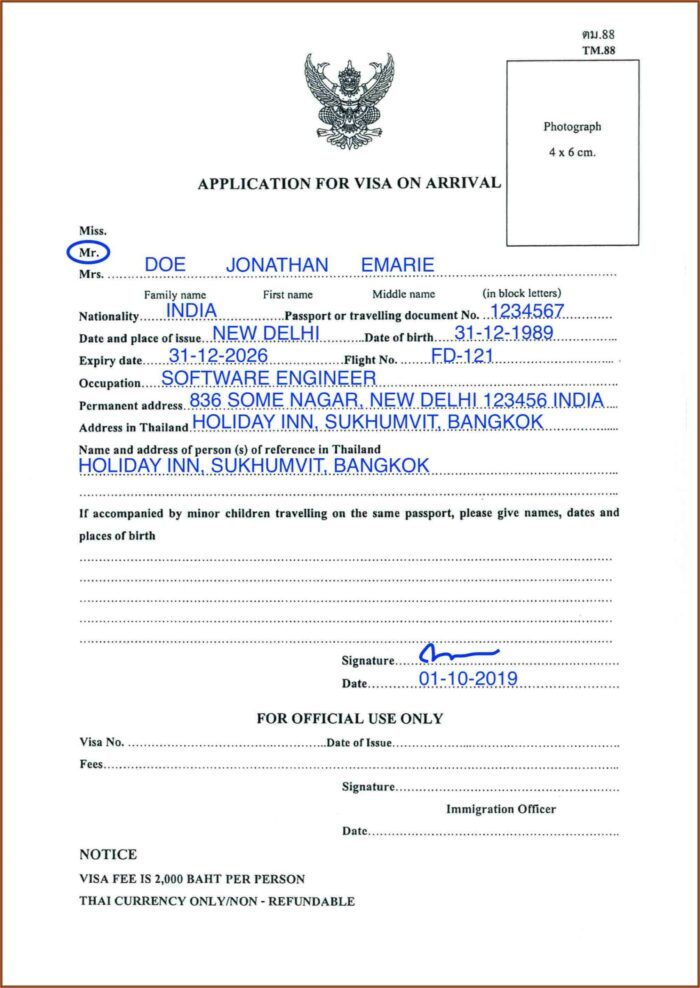 Myanmar Embassy Visa Application Form Pdf