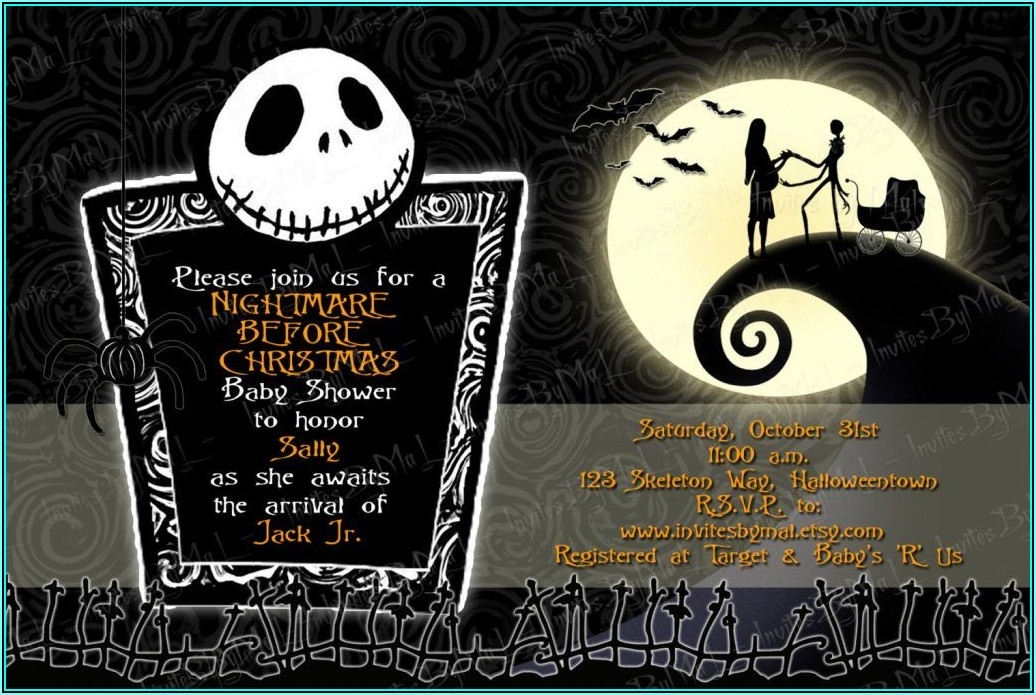 Nightmare Before Christmas Baby Shower Invitations Templates Free