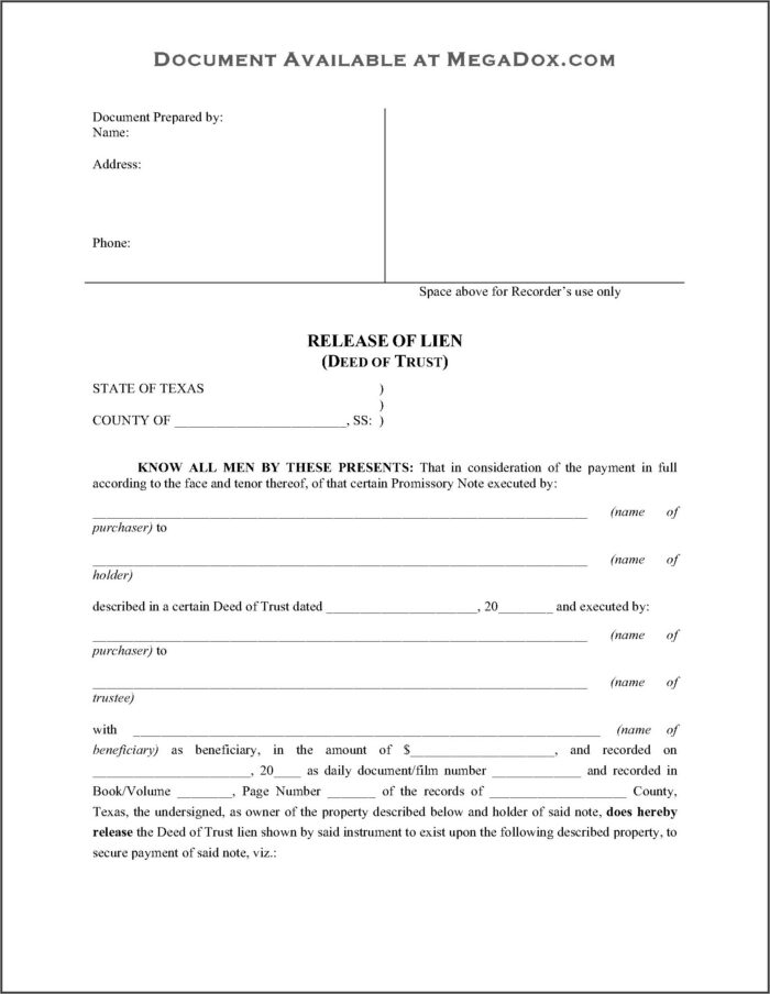 North Carolina Release Of Deed Of Trust Form