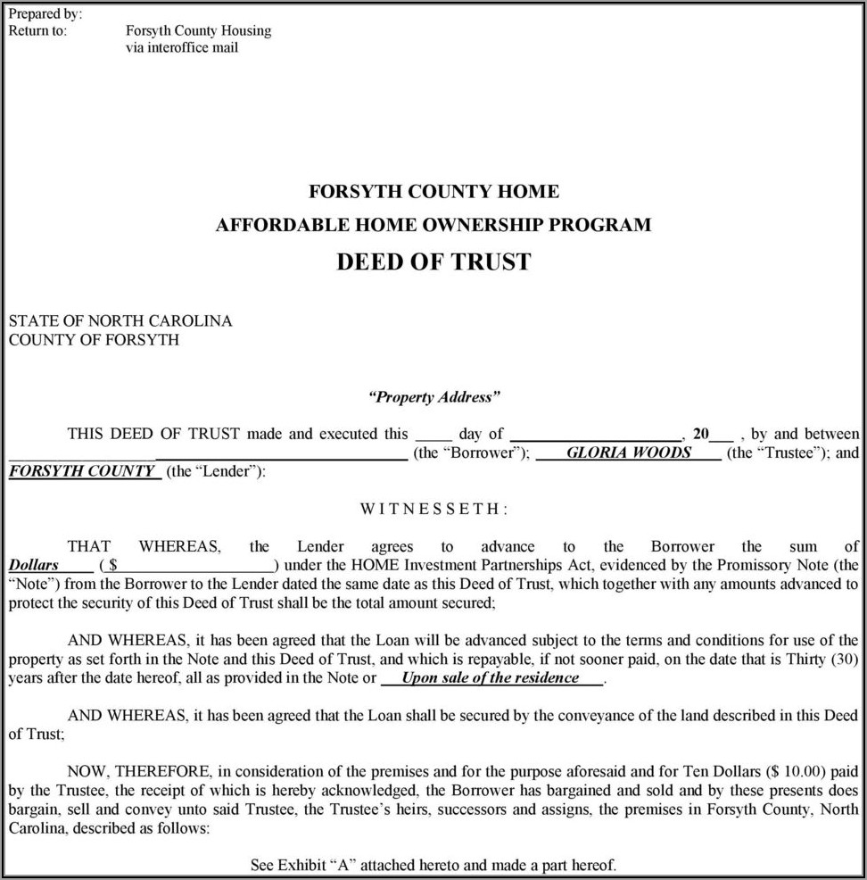 North Carolina Short Form Deed Of Trust