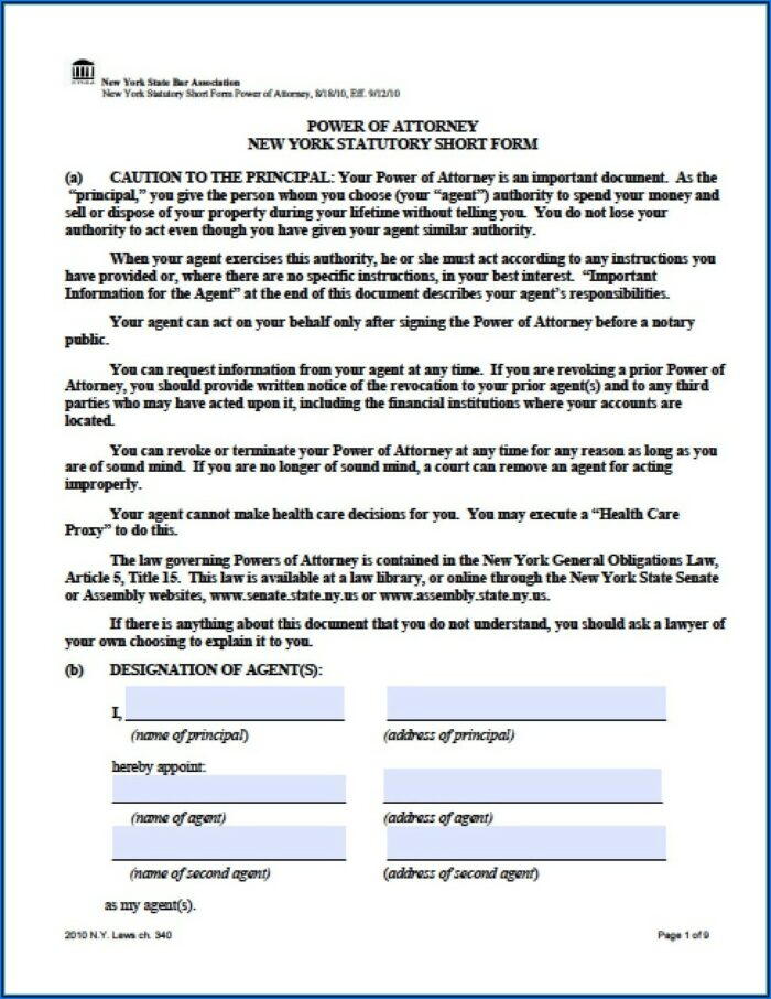 Nys Revocation Of Power Of Attorney Form