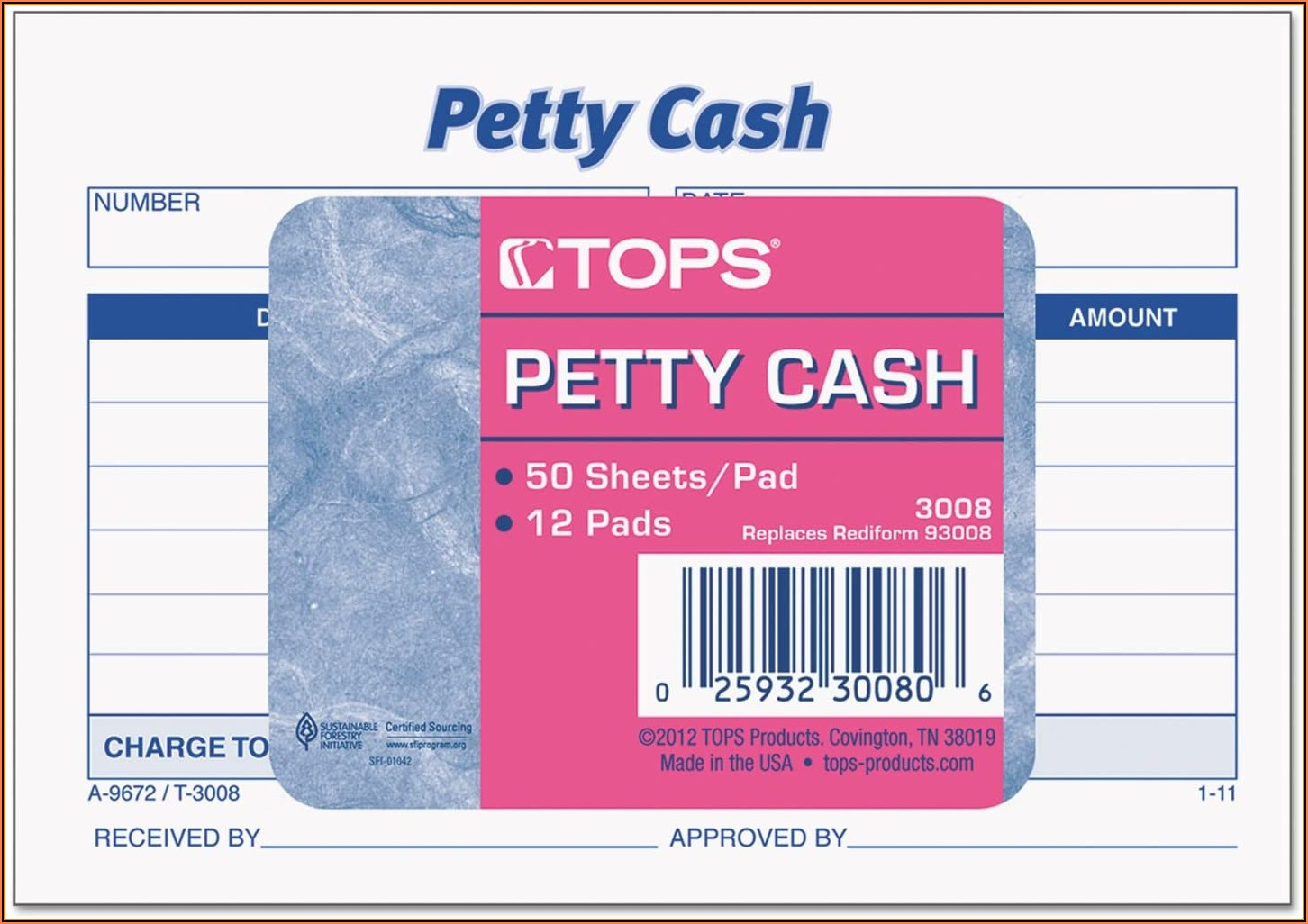 Petty Cash Received Form