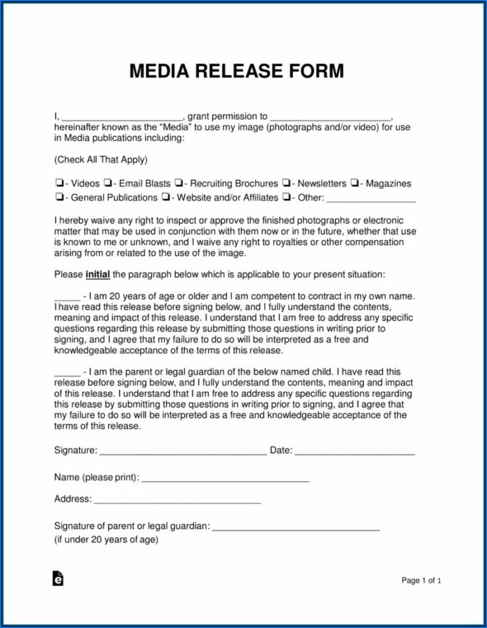 Photography Release Forms Free