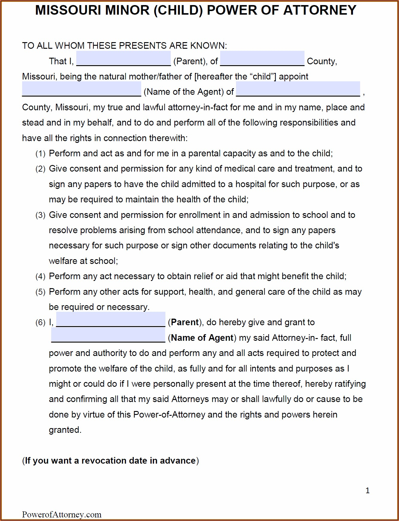 Power Of Attorney Form Missouri Pdf