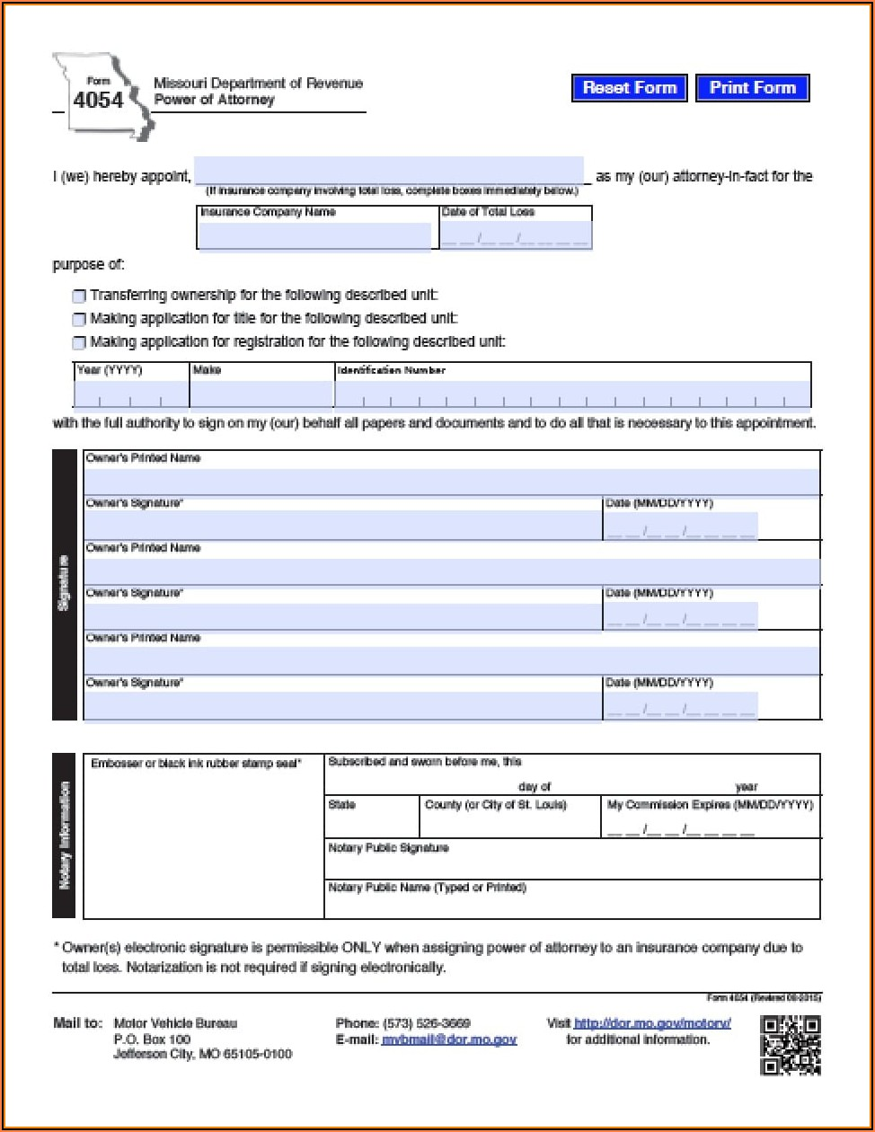 Power Of Attorney Form Missouri Vehicle