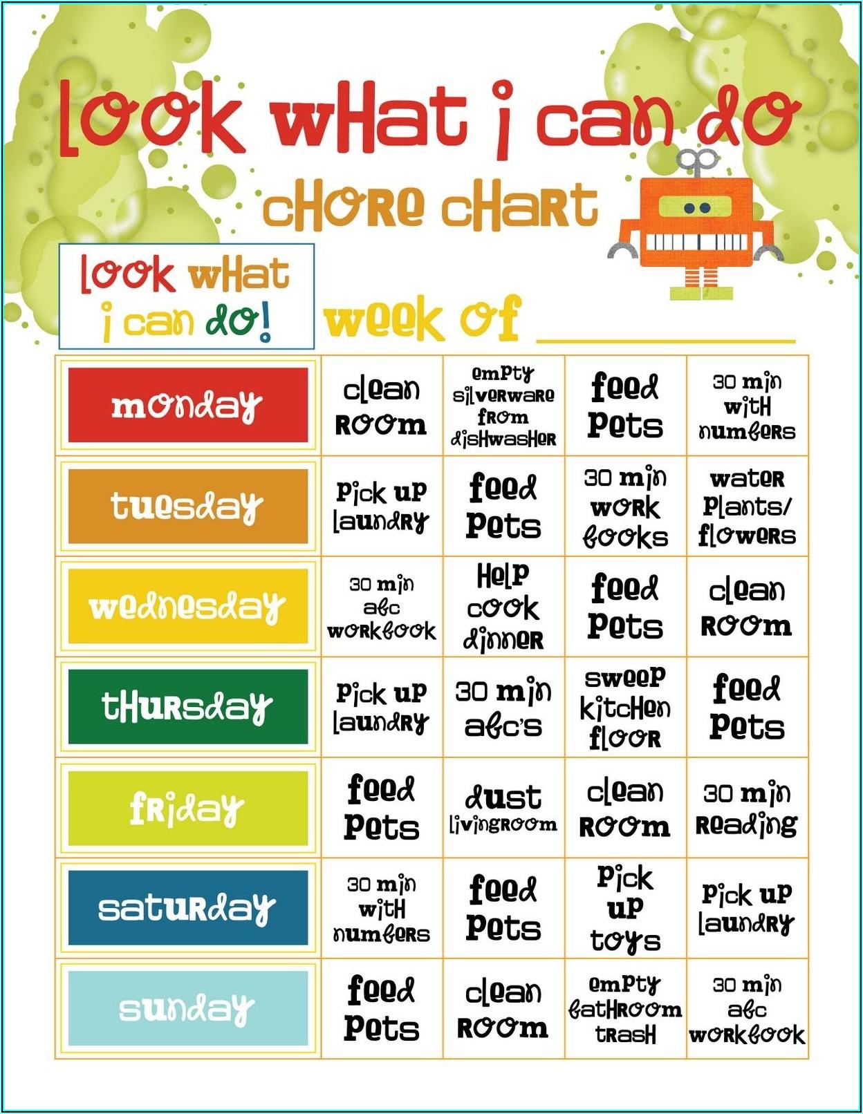 Preschool Chore Chart Template