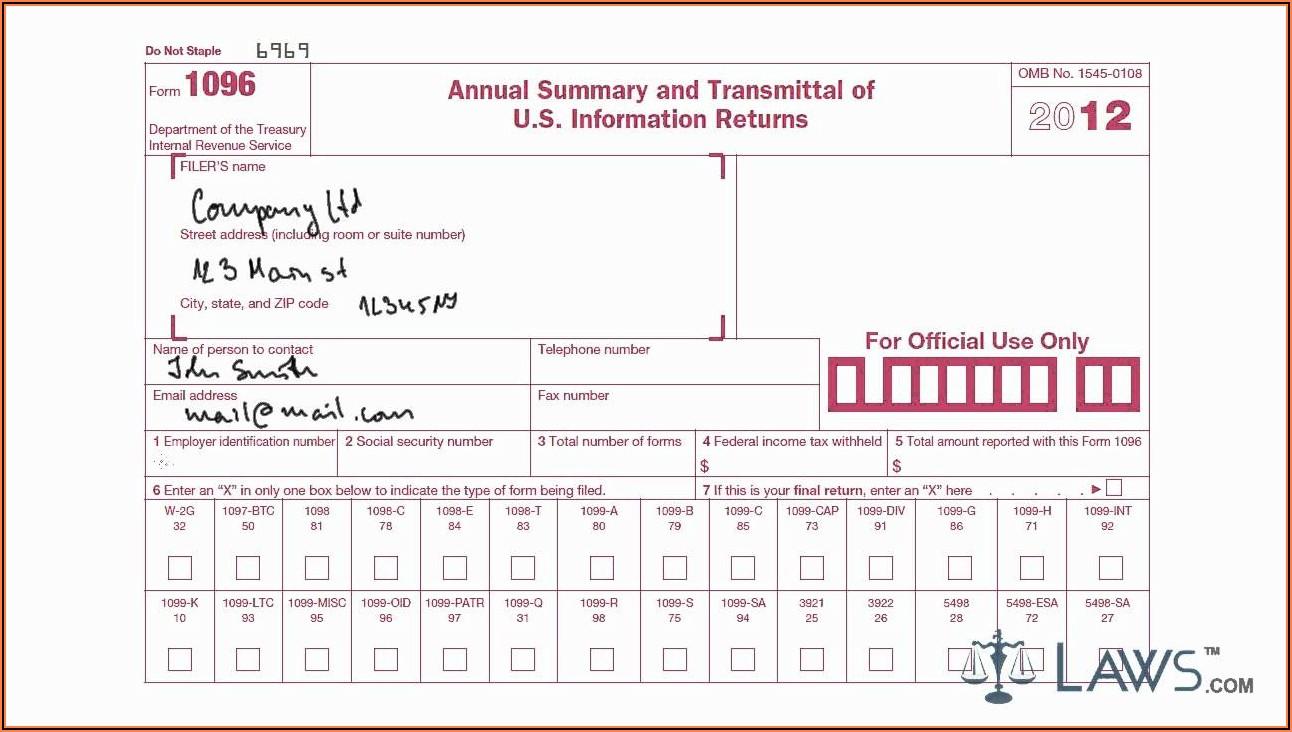 Printable 1096 Form 2018