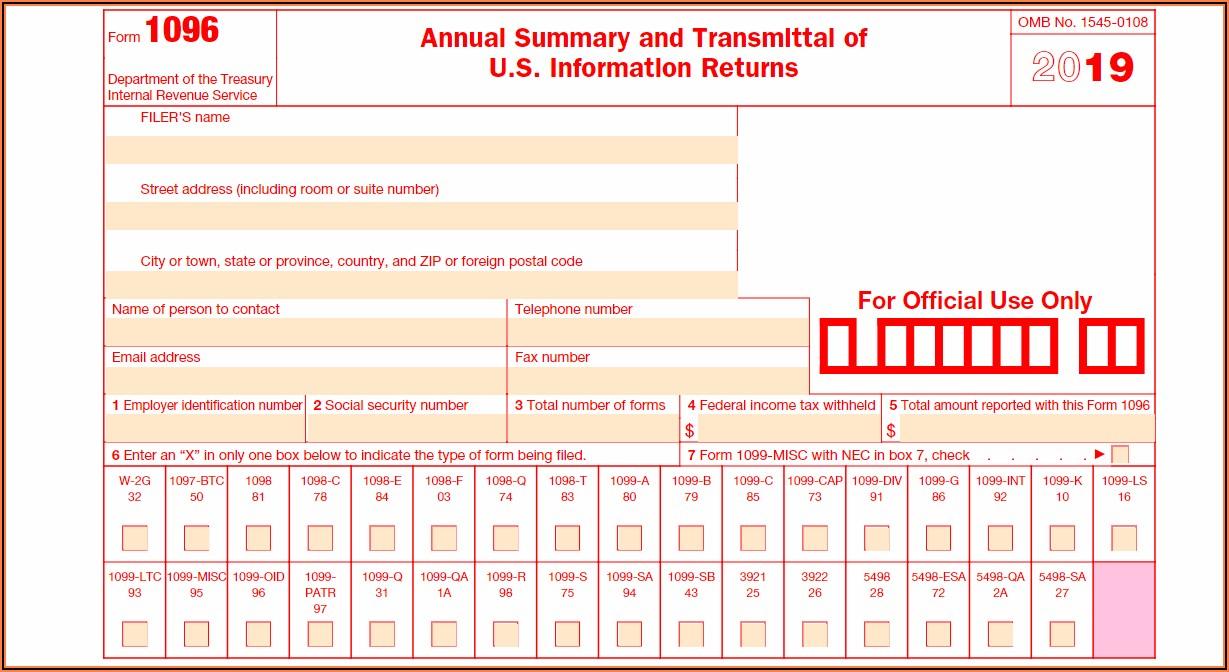 Printable 1096 Form 2019 Irs