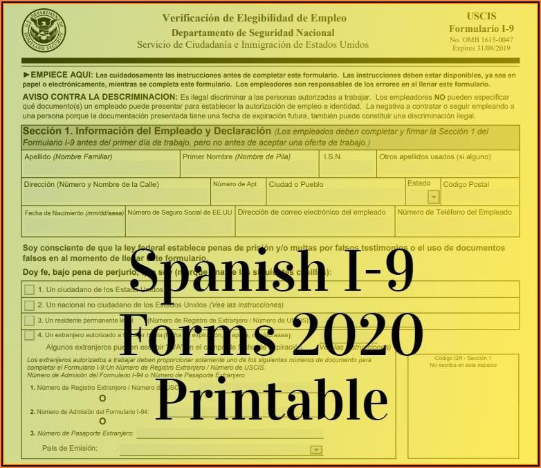 Printable I9 Forms 2019