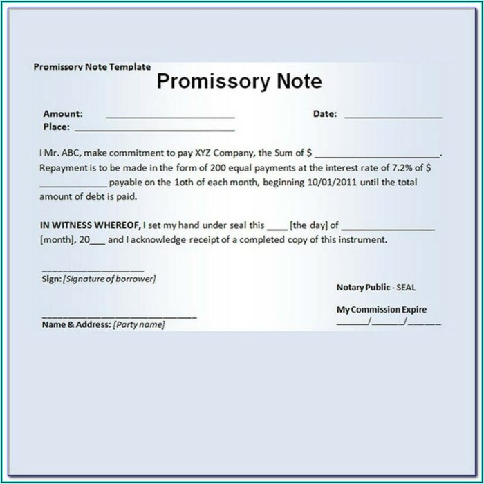 Promissory Notes Template For Word