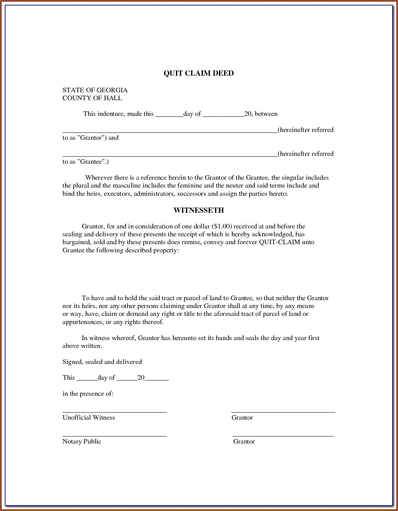 Quit Claim Deed Form Az