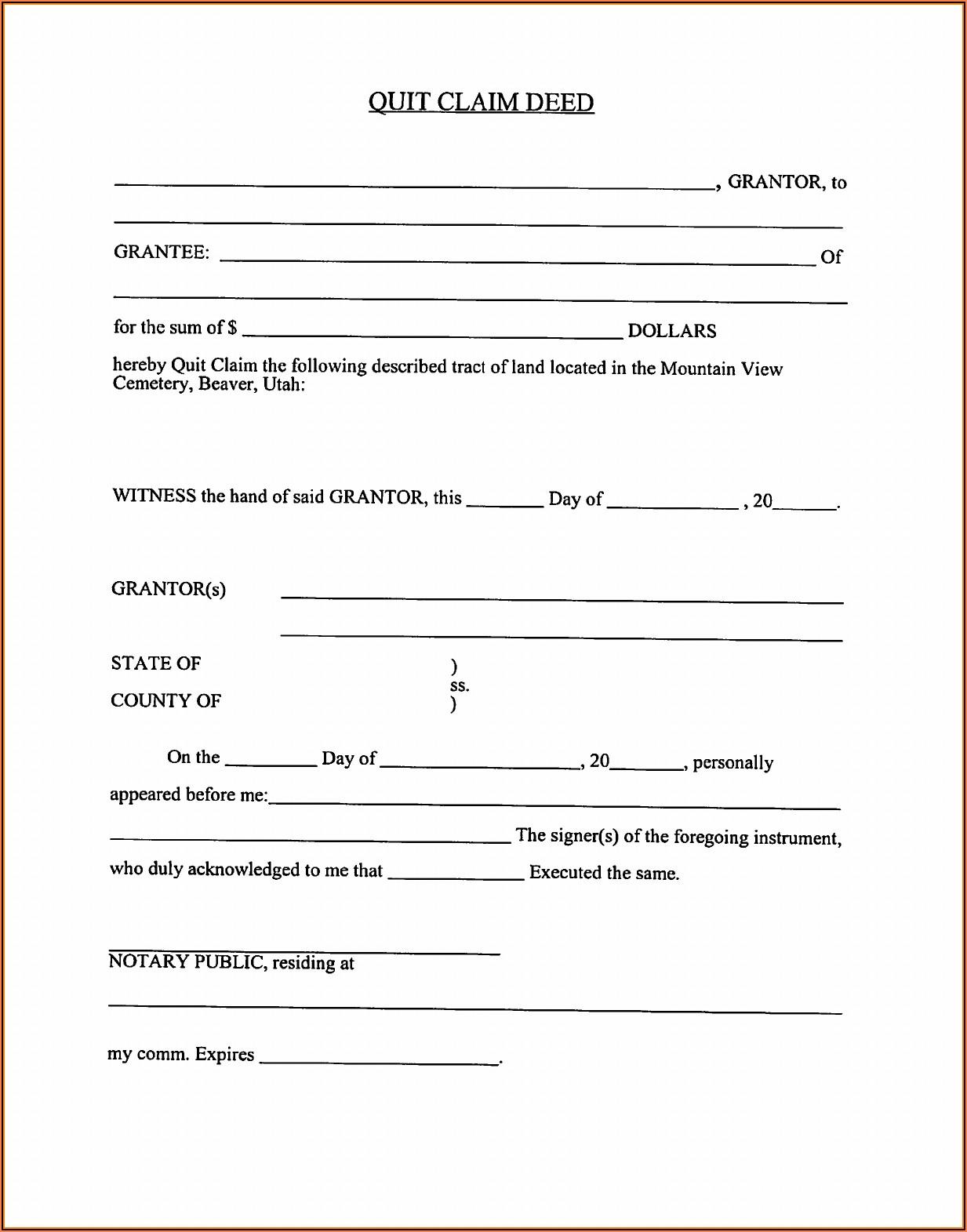 Quit Claim Deed Form Utah Free