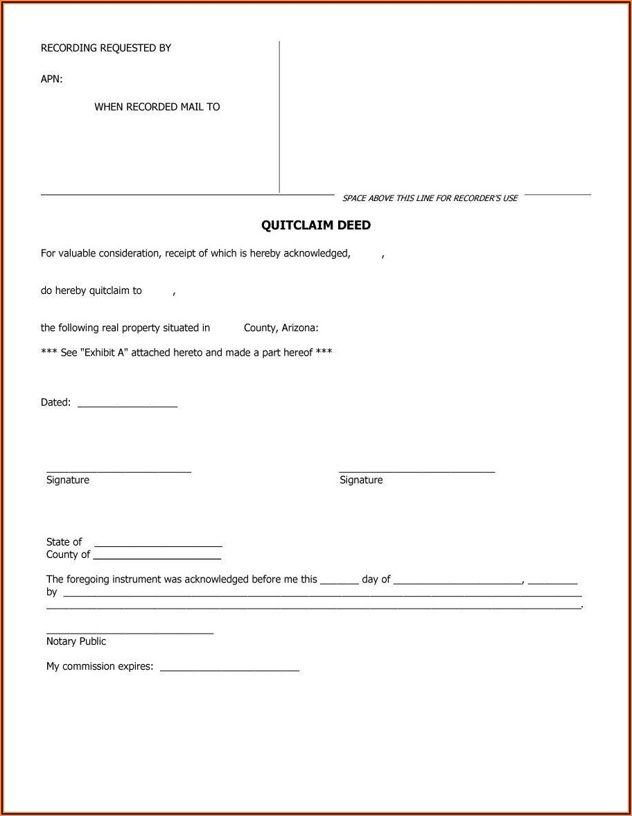 Quitclaim Deed Az Form Free