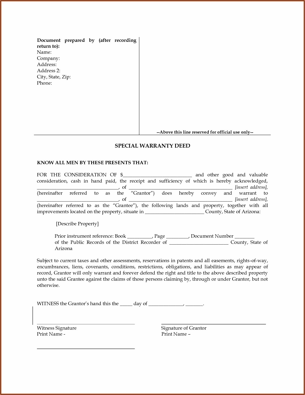 Quitclaim Deed Az Form