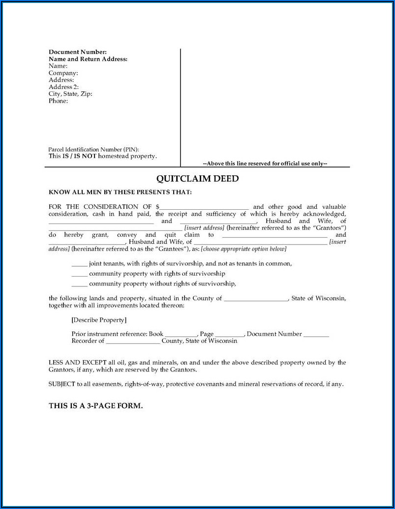 Quitclaim Deed Form Texas