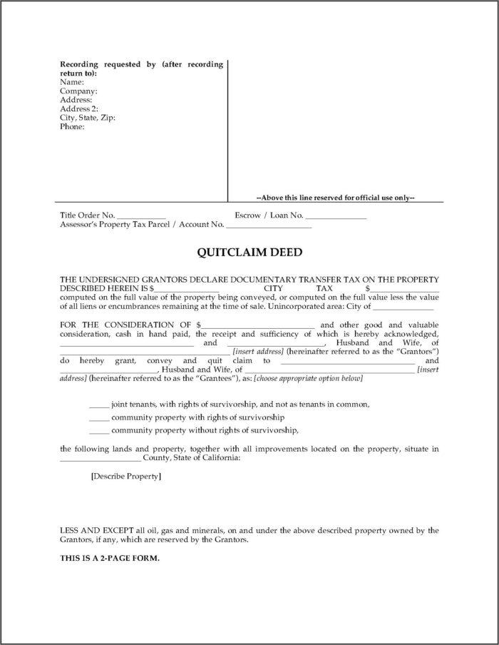 Quitclaim Deed Joint Tenancy Right Survivorship Form